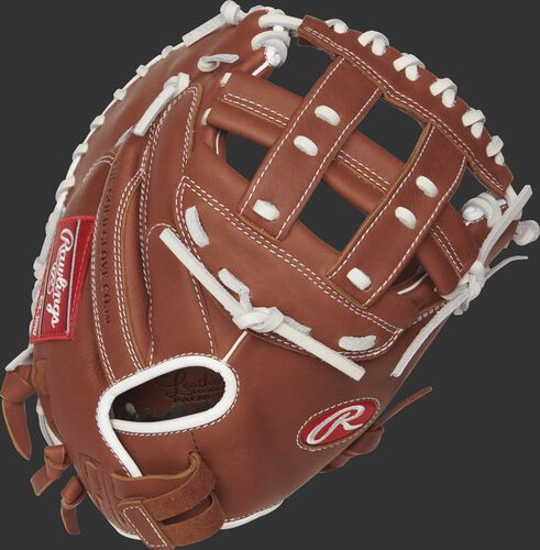 R9SBCM33-24DB 33-inch R9 Series softball catcher's mitt with a brown back and Pull-Strap back design