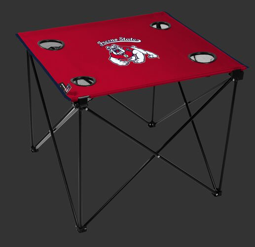 A red NCAA Fresno State Bulldogs deluxe tailgate table with four cup holders and team logo printed in the middle SKU #00713143111