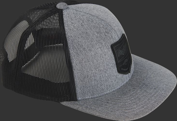 Side of a gray RWWPH Rawlings black mesh back hat