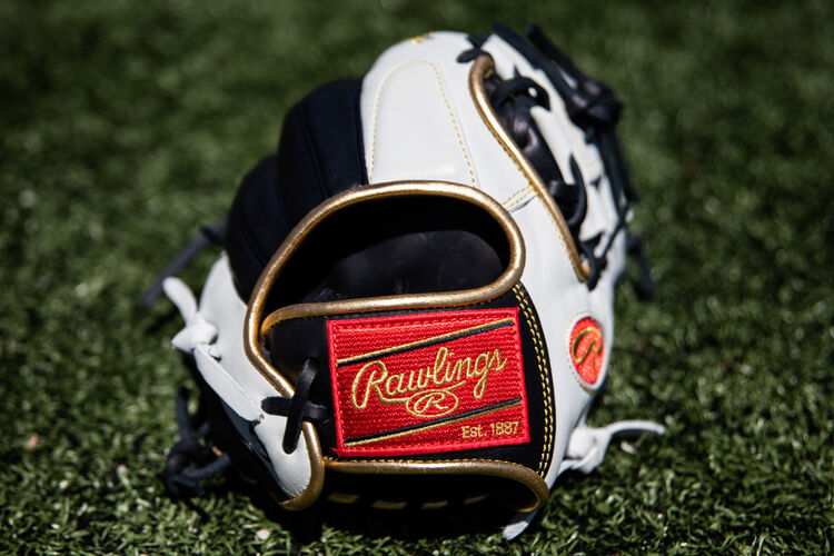 Red Rawlings patch on a Rawlings Encore infield glove sitting on a field - SKU: EC1150-2BW