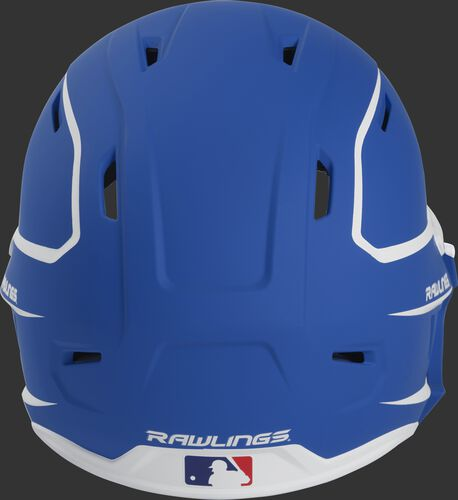 Back of a MACHEXTR high performance senior MACH helmet with a matte royal/white shell and Official Batting Helmet of MLB logo