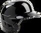 Front angle of a black Mach single ear left handed batting helmet - SKU: MES01A-LHB image number null
