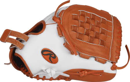 RLA120-3WO Liberty Advanced Color Series 12-inch fastpitch glove with a white thumb, orange trim and orange Basket web
