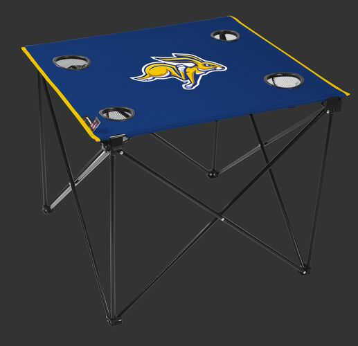 A blue NCAA South Dakota State Jackrabbits deluxe tailgate table with four cup holders and team logo printed in the middle SKU #00711325111