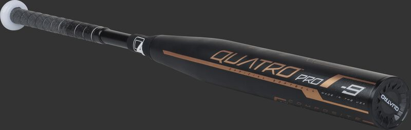 3/4 view of a black FPQP9 fastpitch Quatro Pro bat with rose gold accents