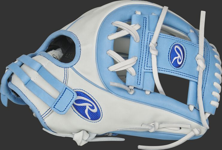 Thumb of a white RLA715SB-2CB Liberty Advanced Color Series 11.75-inch infield glove with a columbia blue I-web