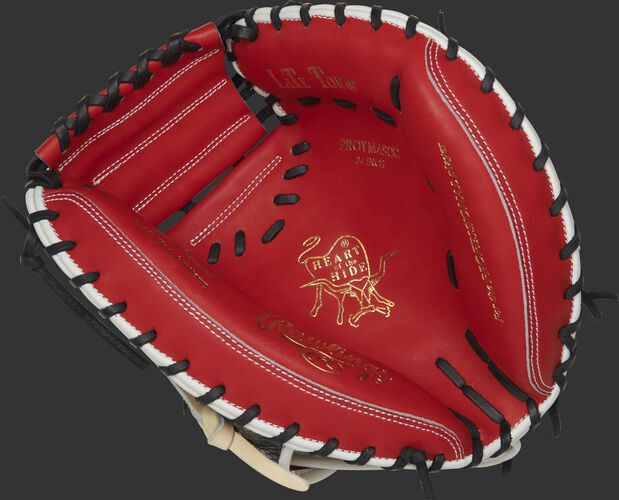 PROYM4SCC Rawlings ColorSync 4.0 catcher's mitt with a scarlet palm and black laces