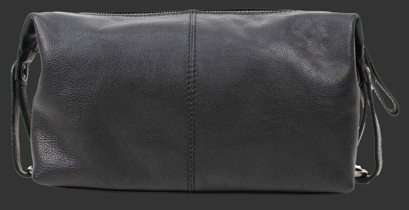 Back of a black Rawlings Rugged leather travel kit with straps on both sides - V625-001