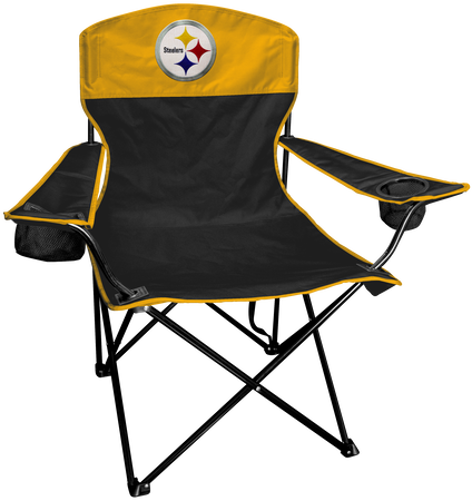 Front of Rawlings Black and Yellow NFL Pittsburgh Steelers Lineman Chair With Team Logo SKU #31021082111
