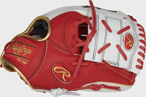 Thumb of a scarlet/white PRONP2-8SW Heart of the Hide 11.25-Inch exclusive glove with a white 1-Piece Solid Web