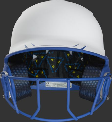 Front of a white/royal Mach fastpitch softball helmet with a royal mask - SKU: MSB13S-W/R