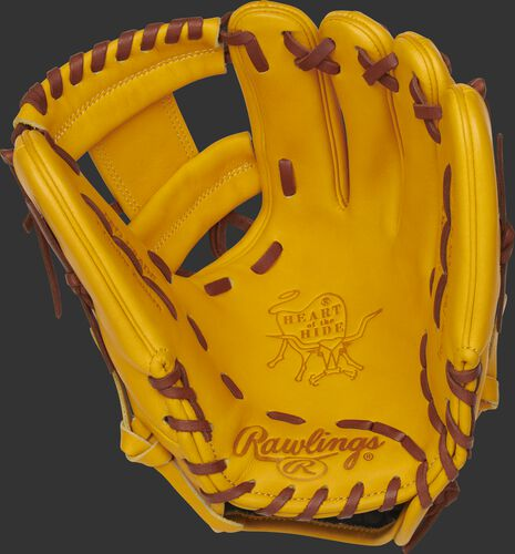 PROFL12-2GT Rawlings Heart of the Hide I-web glove with a gold tan palm, gold tan web and dark tan laces