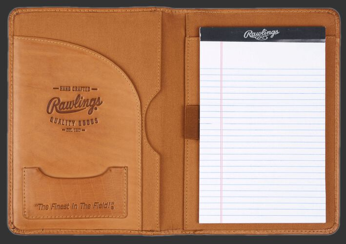"Inside of Rawlings Tan Baseball Stitch Tablet Case With Brand Name, Rawlings Note Pad, and ""The Finest In The Field"" Card Pocket SKU #MW495-204"