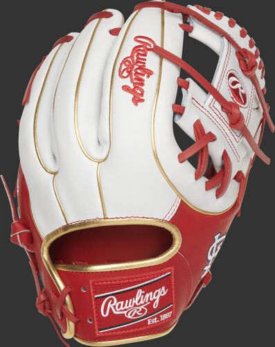 Back of a St. Louis Cardinals Heart of the Hide I-web glove with a red Rawlings patch - SKU: RSGPRO314-2STL