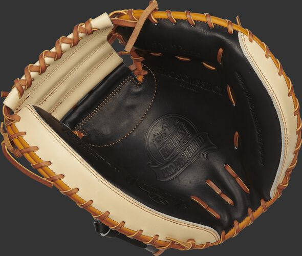 PROSCM33BCT 33-inch Rawlings catcher's mitt with a black palm, camel trim and tan laces