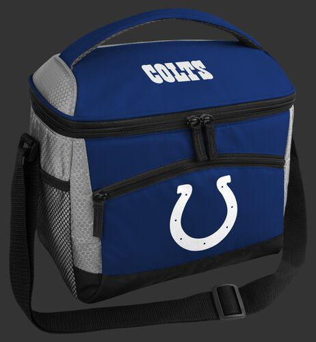 A blue Indianapolis Colts 12 can soft sided cooler with a team logo on the front - SKU: 10111070111