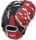 Navy back of a Breakout 12-Inch youth 1st base mitt with a red Rawlings patch - SKU: RSGBOYPTFM16NS image number null