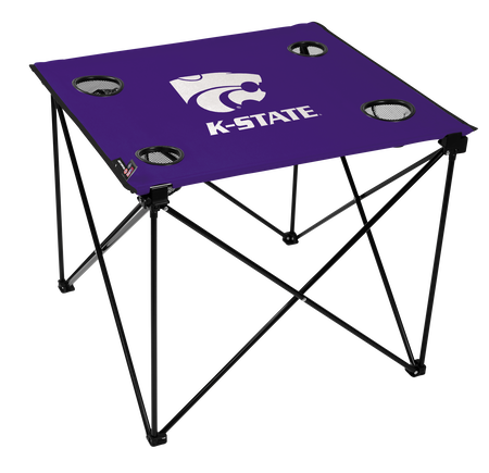 A purple NCAA Kansas State Wildcats deluxe tailgate table with four cup holders and team logo printed in the middle