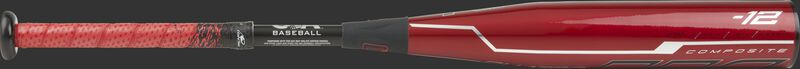 USZQ12 Rawlings USA Quatro Pro with a red barrel and red/black batting grip