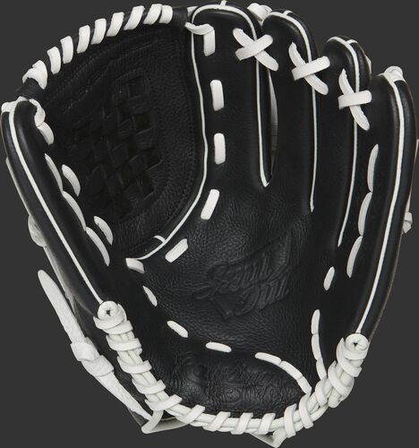 RSO120BW Rawlings Shut Out sofball glove with a black palm and white laces