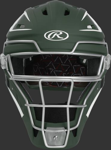 Front of a dark green CHV27J Velo 2.0 hockey-style catcher's helmet