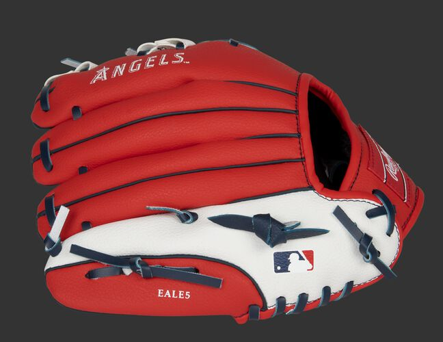 Red back of a LA Angels 10-inch youth glove with the MLB logo on the pinky - SKU: 22000001111