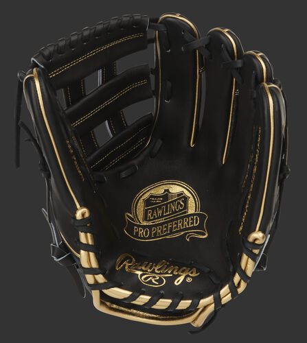 Black palm of a Rawlings Pro Preferred infield glove with gold stamping, and black web and laces - SKU: PROS206-6BCF