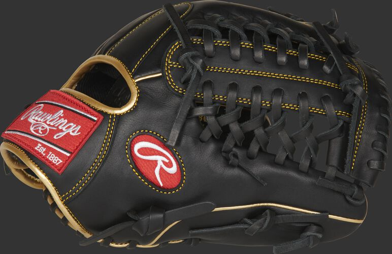 Thumb of a black R9 Series 11.75-Inch infield/pitcher's glove with a black Modified Trap-Eze web - SKU: R9205-4BG