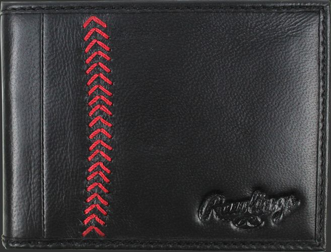 A black MW485-001 Baseball Stitch bi-fold wallet folded close with red stitching on the left and an embossed Rawlings logo