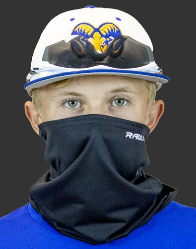 A player wearing a black Rawlings protective neck gaiter over his mouth and nose - SKU: RMSKNG-BLK