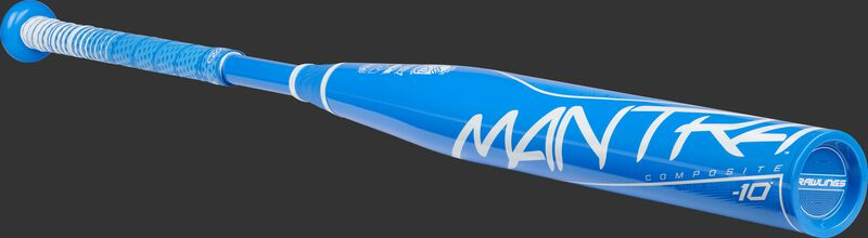 Angled view of a light blue Rawlings Mantra bat with a light blue end cap - SKU: FP1M10