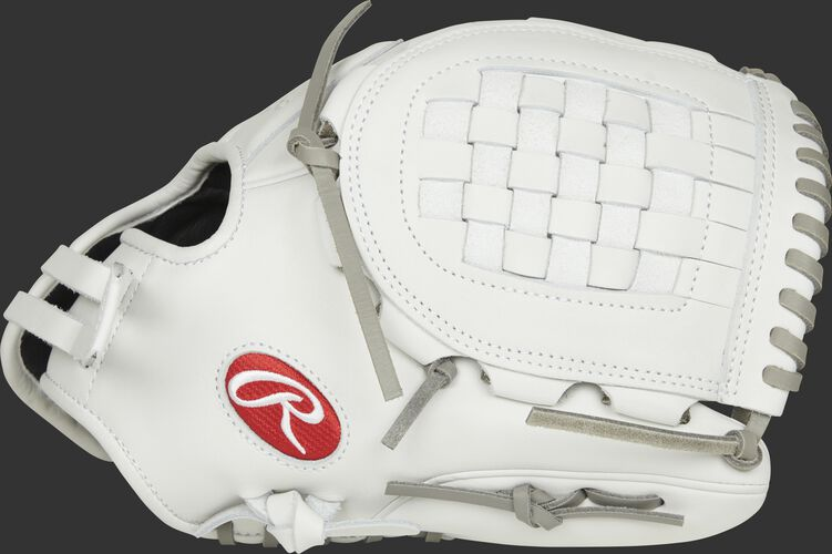 Thumb view of a white RLA120-3WG Liberty Advanced 12-inch softball glove with a white Basket web