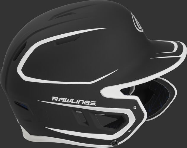 Right side of a MACHEXTR junior Rawlings batting helmet with a two-tone matte black/white shell