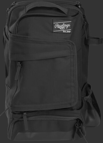 Front of a black R701 Rawlings training backpack with a locker style front pocket
