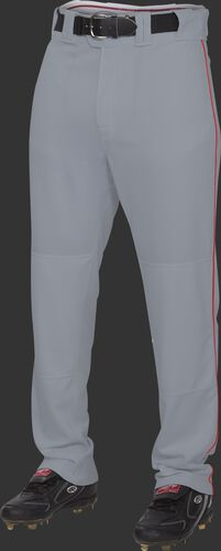 Front of Rawlings Blue Gray/Scarlet Adult Semi-Relaxed Piped Pant - SKU #PRO150P-BG/DG-90