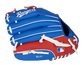 Back of a blue/red Texas Rangers 10-inch youth glove with the MLB logo on the pinky - SKU: 22000022111 image number null