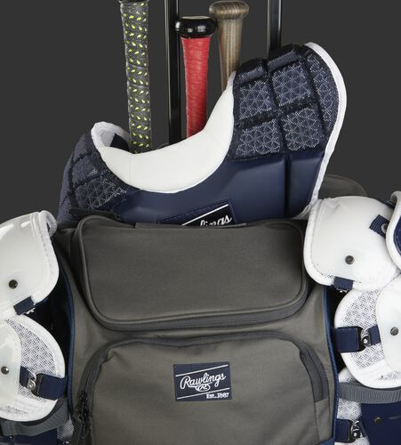 R1801 wheeled catcher's backpack with a chest protector in its back compartment
