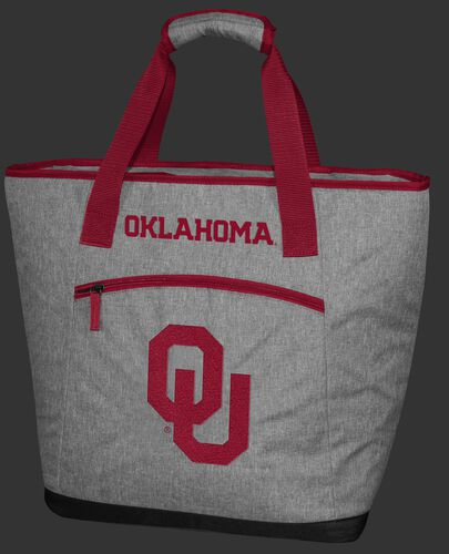 A gray Oklahoma Sooners 30 can tote cooler with an embroidered team logo on the front - SKU: 10323045111