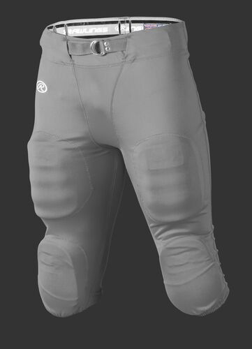 Front of Rawlings Silver Grey Adult Slotted Football Pant - SKU #FP147