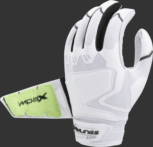 Back of a white/black FPWPBG-B Workhorse batting glove with the Impax pad