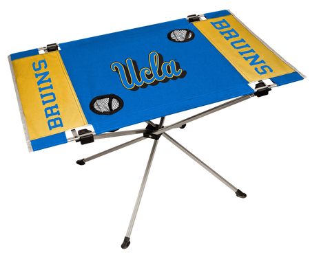 NCAA UCLA Bruins Endzone table in team colors with team logos and two cup holders