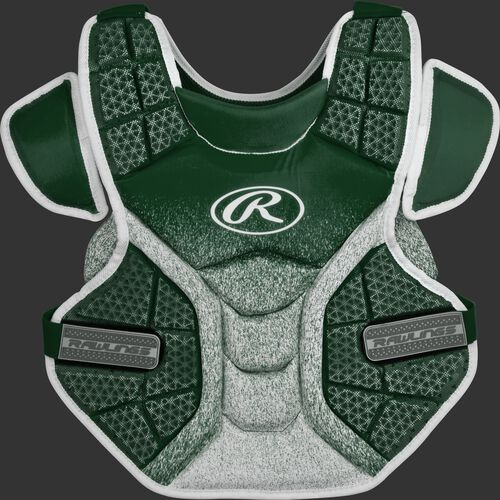 A dark green/white SBCPVI Velo intermediate softball chest protector
