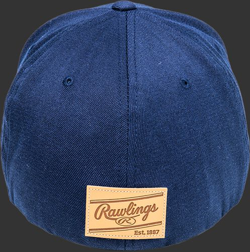 Back of a navy Rawlings Black Clover Leather Patch fitted hat with a leather Rawlings patch logo - SKU: BCR1LPFN0071