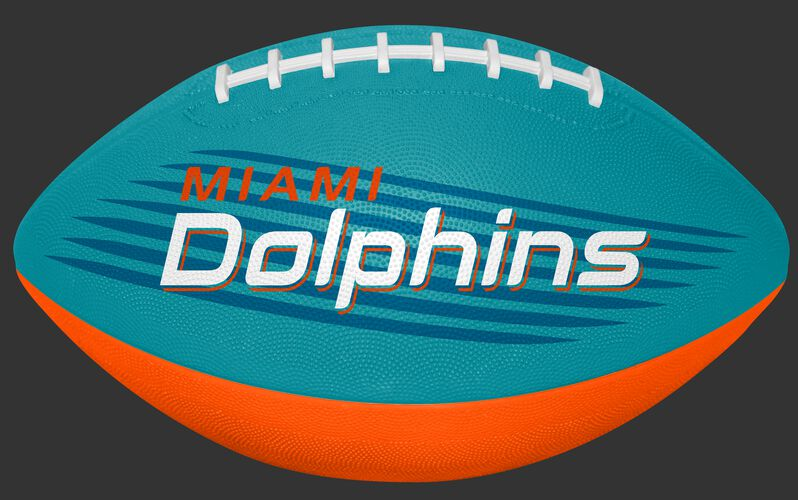 Aqua Green and Orange NFL Miami Dolphins Downfield Youth Football With Team Name SKU #07731074121