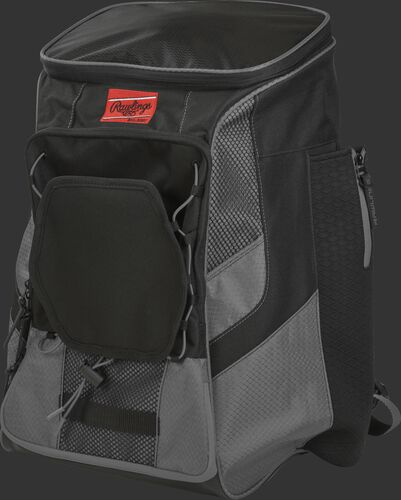 Front left of a gray/black R600 Rawlings backpack without bats