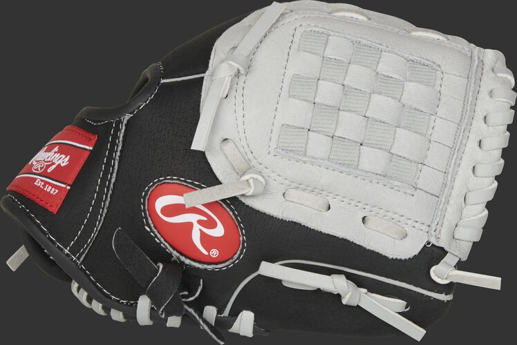 Thumb of a black SC950BGB Sure Catch 9.5-inch youth infield/pitcher's glove with a grey Basket web