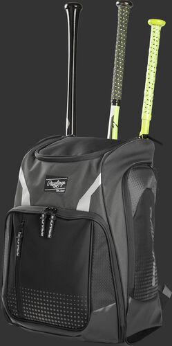 Angle view of a gray Legion baseball bat backpack with 3 bats in the back - SKU: LEGION-GR