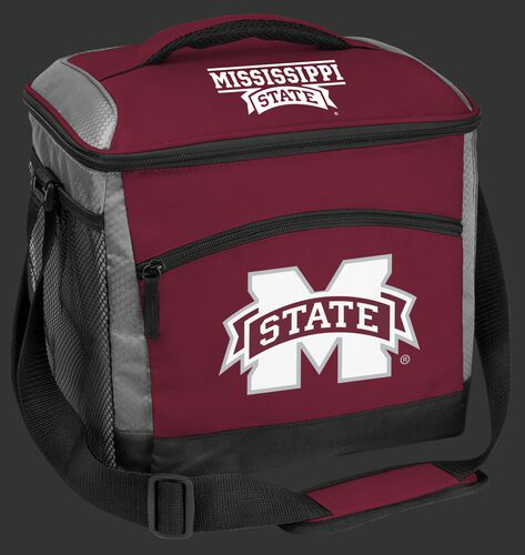 A maroon Mississippi State Bulldogs 24 can soft sided cooler with screen printed team logos - SKU: 10223039111