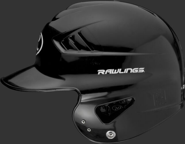 Left side of a black RCFTB Coolflo T-ball helmet with a Rawlings logo above the ear hole