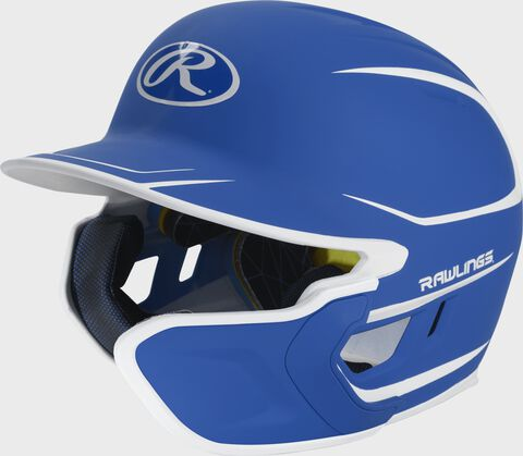 Left angle view of a matte royal/white MACHEXTR Mach Junior helmet with Mach EXT right hand batter face guard extension